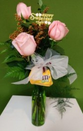 3 Rose Sweetest Day vase Roses Arrangement
