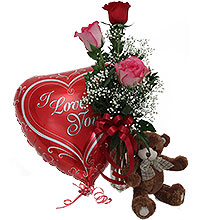 3 Roses in Vase w/ Sm Bear & Lg Balloon