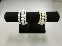 3 Strand Pearl Bracelet, White, Ivory