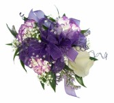 3 white-lavender min. carn 1 rose Wrist Corsage