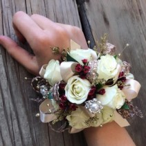 #3 White Red Gold Corsage Prom Corsage