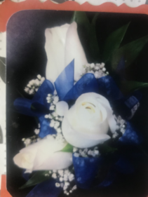 3 WHITE ROSE AND ROYAL BLUE RIBBON CORSAGE/WRIST