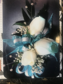 3-WHITE ROSE TIPPED TURQ. W/BLING CORSAGE/WRIST
