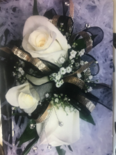 3-WHITE ROSE, W/BLING, BLK/GOLD RIBBONS CORSAGE/WRIST