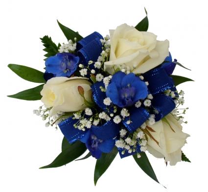 3 white roses blue delphinium wrist corsage in akron pa roxannes 3 white roses blue delphinium wrist corsage mightylinksfo