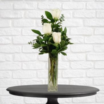 3 White Roses in Bud Vase
