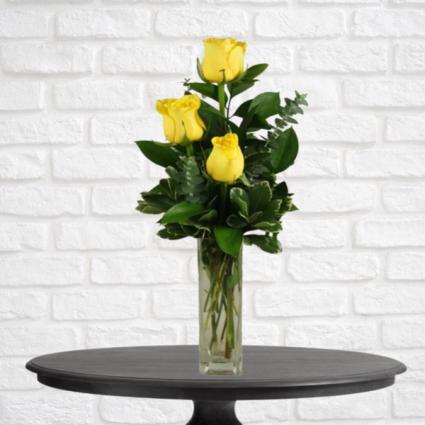 3 Yellow Rose Bud Vase