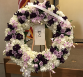 PURPLE AND WHITE CIRCLE OF LIFE WREATH 32