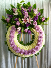 "32"" LAV/WHITE WREATH ON 6' STAND CALL IN 562/947-6199 TO CHANGE COLOR OF ROSES"