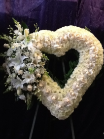 """32"""" LT CLUSTER ON WHITE OPEN HEART ON 6' STAND CALL IN 562/947-6199 TO CHANGE COLOR OF ROSES"""