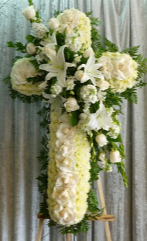 """36"""" PURITY WHITE CROSS STANDING FUNERAL PC"""