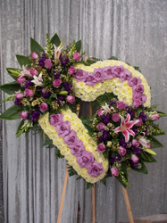 """32"""" WHITE OPEN HEART W/2-CLUSTERS ON 6' STAND CALL IN 562/947-6199 TO CHANGE COLOR OF ROSES"""