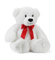 "33"" White Bear w/ Red Bow Gift"