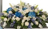 BLUE HYDRANGEA/WHITE LILLY CASKET SPRAY CASKET PIECE