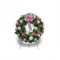 36 carnation wreath pink and white