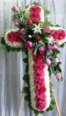 "LOVING HOT PINK/WHITE STANDING CROSS ON 5'6' STAND 35"" CROSS W/CENTER CLUSTER ON A 6' STAND"