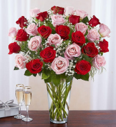 36 LONG STEM PINK AND RED ROSES