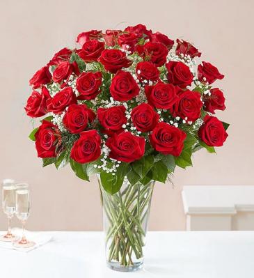36 Long Stem Red Roses Vase Arrangement