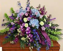 "36"" PURPLE ORCHID/BLUE HYDRANGEA CASKET SPRAY CASKET PIECE"
