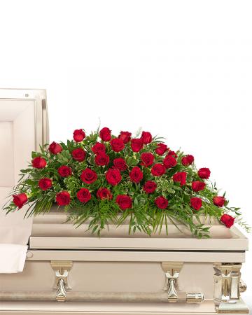 36 Red Roses Casket Spray Sympathy