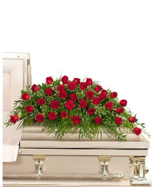 36 Red Roses Casket Spray Sympathy in Nevada, IA | Flower Bed