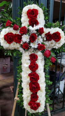 "CUSTOM 36"" RED ROSE/WHITE CROSS ON A 6' STAND CALL IN 562/947-6199TO CHANGE COLOR OF ROSES"