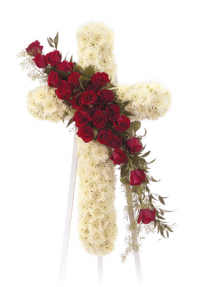 "36 "" RED/WHITE STANDING CROSS ON 5'6' STAND CROSS W/24 RED ROSE CLUSTER"