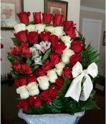 36 White & Red Roses