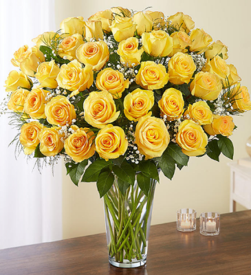 36 Yellow Burst Rose  Arrangement