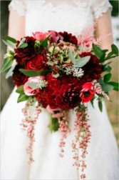 Berry Red + Gold Wedding Bouquet + Centerpieces