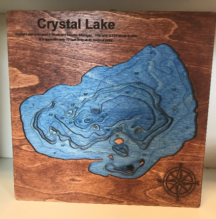 3D Bathymetric Lake - Custom Laser Engraved Gift