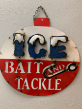 3D Metal Bobber Sign Ice Bait and Tackle