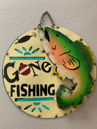 3D Metal Gone Fishing Sign