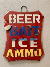 3D Metal Sign Beer Bait Ice Ammo