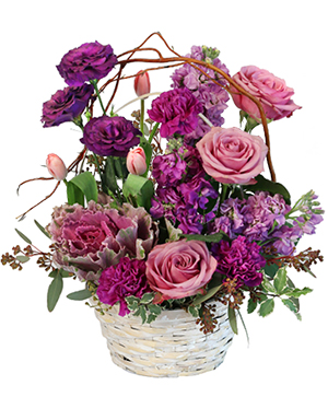 Purple Showers Basket Arrangement in Henderson, NC | The People's Choice D'Campbell Floral D'Zign Studi