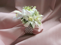 4 Dendrobium Orchid on Pearl Band, $40.00