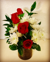 4 My Love 4 Red Rose with Glittery White Poms
