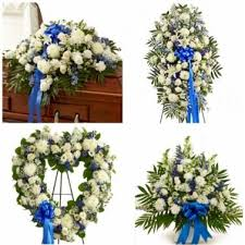 "4 PC BLUE AND WHITE "" FOR HIM "" PACKAGE CASKET, STANDING SPRAY OPEN HEART AND PEDESTAL"