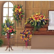 4 PC CELEBRATION OF LIFE PACKAGE PEDESTAL PIECE, STANDING SPRAY, CASKET, AND WREATH
