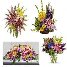 4 PC CELEBRATION OF LIFE PACKAGE STANDING SPRAY, LARGE BASKET, CASKET, AND REGISTRY VASE ARRANGEMENT