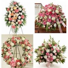 "4 PC PINK AND WHITE "" FOR HER "" FUNERAL PACKAGE STANDING SPRAY, CASKET, WREATH, AND PEDESTAL"