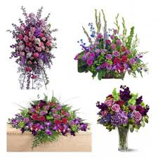 4 PC PURPLE FUNERAL PACKAGE STANDIN SPRAY, LARGE BASKET/PEDESTAL, CASKET AND VASE ARRANGEMENT