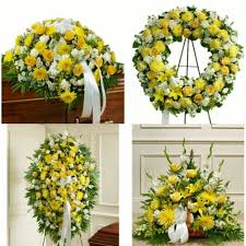 "4 PC. "" RAY OF LIGHT "" FUNERAL PACKAGE CASKET, WREATH, STANDING SPRAY, FLOOR BASKET"