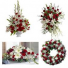 4 PC RED AND WHITE PACKAGE PEDESTAL PIECE, STANDING SPRAY, CASKET, AND WREATH