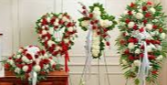 4 PC. RED AND WHITE/LOVING FUNERAL PACKAGE CASKET, OPEN HEART, CROSS, AND STANDING SPRAY