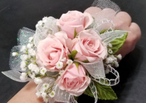 4 pink rose corsage with babies breath
