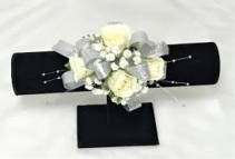 4-WHITE SPRAY ROSES W/SILVER ACCENTS CORSAGE/WRIST