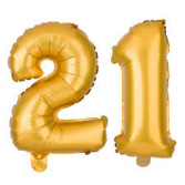 """40"""" 21 GOLD Balloons with weights on each one"""