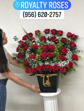 40 Red Roses in V Vase with drawer Roses in V vase