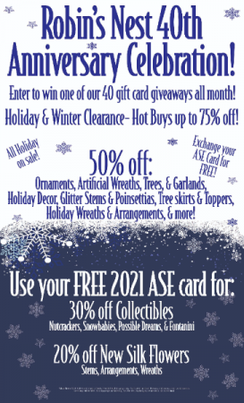 40th Annaversary Sale!   in Easton, MD | ROBINS NEST FLORAL AND GARDEN CENTER